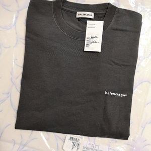 Authentic Bnwt Balenciaga logo tee in washed black